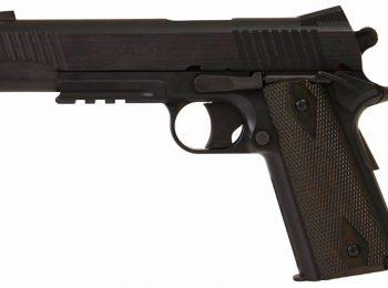 Replica Colt 1911 cu sina RIS negru CyberGun magazin Squad Store