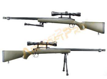 Replica sniper VSR10 (MB07D) cu luneta si bipod olive - Well magazin Squad Store